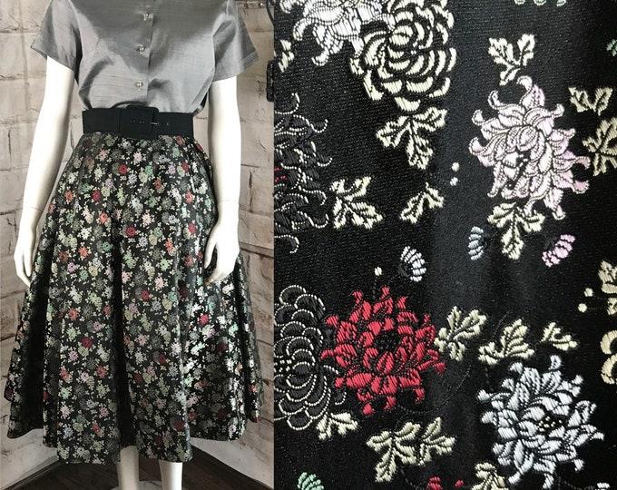 "Vintage 50s Satin Black Brocade Floral Full Skirt 1950s 27"" M Circle Rockabilly Black"