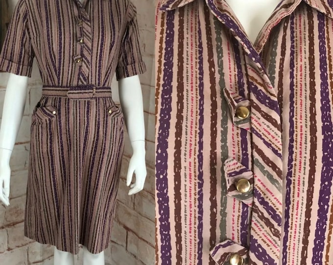 Vintage 50s 60s Abstract Striped S/M Sheath Wiggle Pencil Dress Smartcraft