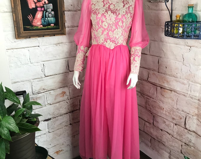 Vintage 60s Pink Lace Chiffon Satin Gown Party Formal Prom Victorian Maxi Dress 1960s S Small Floral
