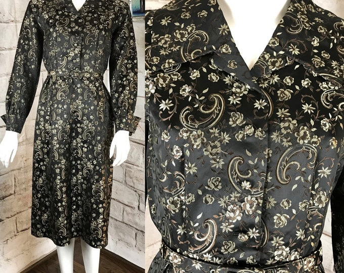 Vintage 50s Black Satin Floral Paisley Brocade Wiggle Pencil Sheath Dress 1950s XSmall XS Secretary rockabilly VLV
