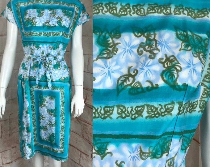 Vintage 50s 60s Airbrush Novelty XS Leaves Floral Mini Wiggle Pencil Dress vtg XSmall Sheath