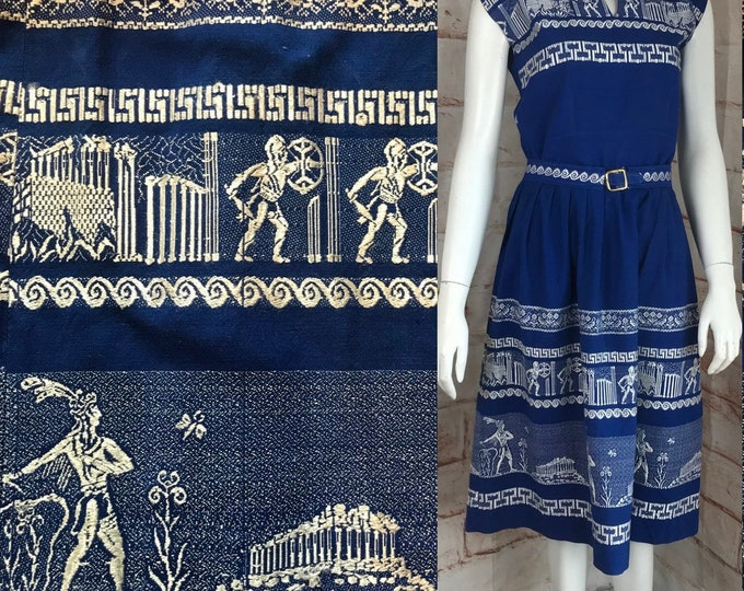 Vintage 50s Greek Key XS/S Embroidered Skirt Top Blouse Patio Set Dress Grecian Novelty 1950s Xsmall/Small