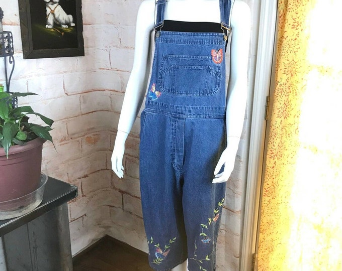 Vintage 90s Butterfly Embroidered Cropped Capri Denim Jean Overalls Large L 1990s