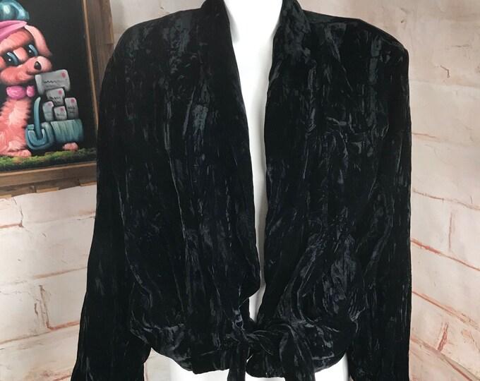 Vintage 90s Norma Kamali Black Crushed Velvet M Jacket Blouse Top Draped Blazer
