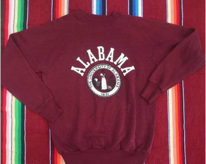 Vintage 80s Alabama University Seal Sweatshirt Roll Tide Crimson M 20/20 50/50