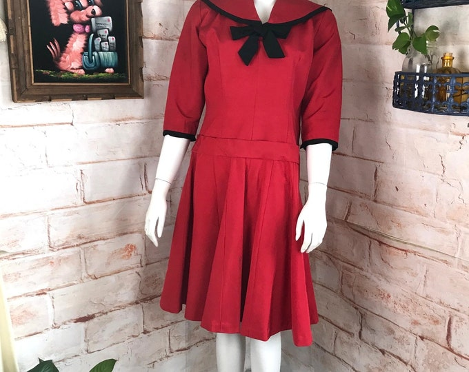 Vintage 50s 1950s Red Faille Sailor Collar Bow Dress S/M Small/Medium Halloween Costume