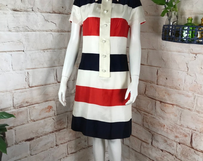 Vintage 60s David Barr Striped Stripe Mini Shift Red white blue S mod Shirt Dress 1960s vtg Small shirtdress