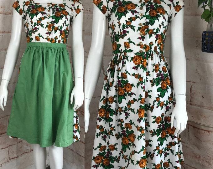 Vintage 60s Original Berchtesgadener Dirndl-Kleider XS Floral Octoberfest Dress 1960s xsmall