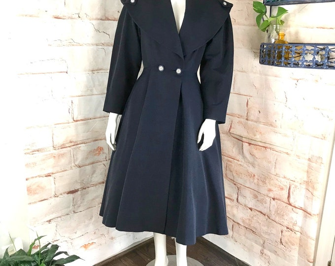 Vintage Womens 40s 50s Navy Blue Bengaline Faille S/M Swing Full Skirt Dress Princess Coat vtg 1940s 1950s Small/Medium