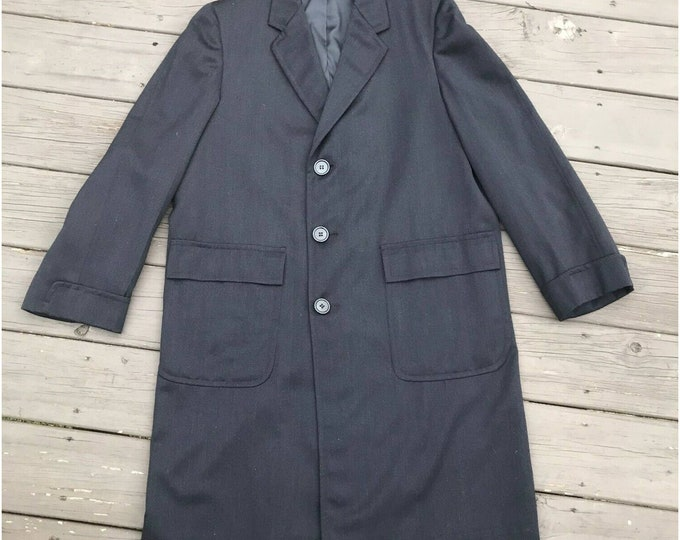 Mens Vintage 50s Cravenette Trench Overcoat Wool Twill Gabardine Dark Gray Coat Long Jacket 1950s M/L