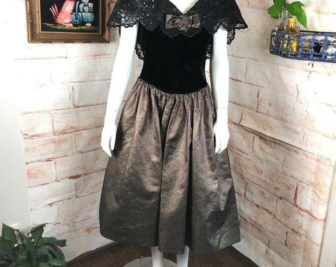 Vintage 80s Jessica McClintock Metallic S Velvet Black Holiday Prom Dress Formal 1980s 90s Small