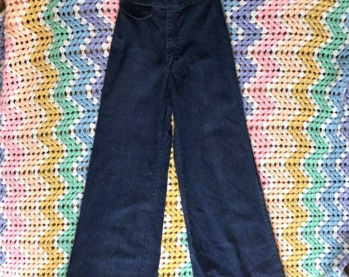 "Vintage 70s Dark Blue High Waist Rise Bell Bottom Wide Leg Denim Jeans Pants 26"""