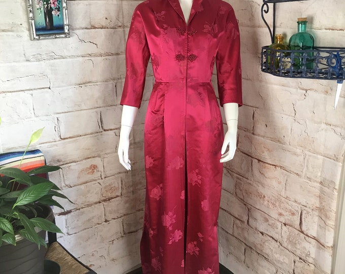 Vintage 50s 60s Bonwit Teller S Silk Floral Asian Brocade Wiggle  Maxi Cheongsam Dress 1950s 1960s Small Satin Chinese Hong Kong Royal Crown