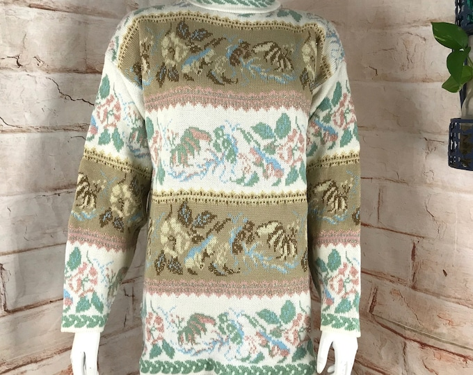 Vintage NOS 80s 90s Metallic Floral Fairy Kei Dana Scott Pastel M Womens Sweater New old stock