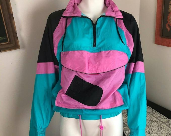 Vintage 90s 80s Womens Laguna Windbreaker Track Jacket Nylon XS/S Bright neon colorblock