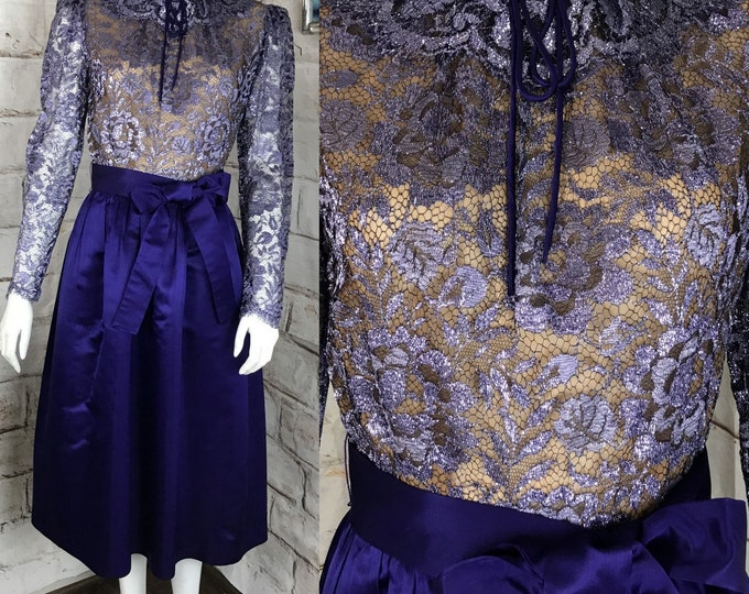 Vintage 60s 70s Helga Purple Satin M Metallic Floral Lace Formal Midi Dress Medium 1960s 1970s Party Cocktail