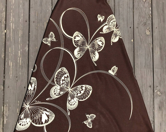Vintage 60s 70s Alfred Miss Shaheen Butterfly Novelty Brown Maxi Skirt XS XSmall