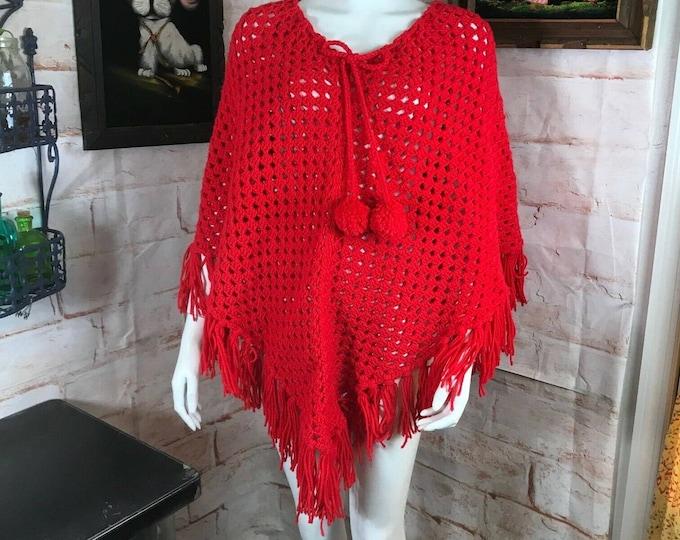 Vintage 70s Red Crochet Fringe Knit Cape Bobble OS Handmade Poncho Acrylic 1970s coat