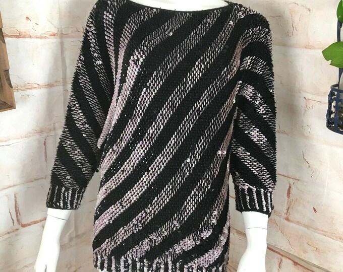 Vintage 80s Sequin Striped Dolman Draped Blouse Top Shirt Black Purple M Sweater Medium