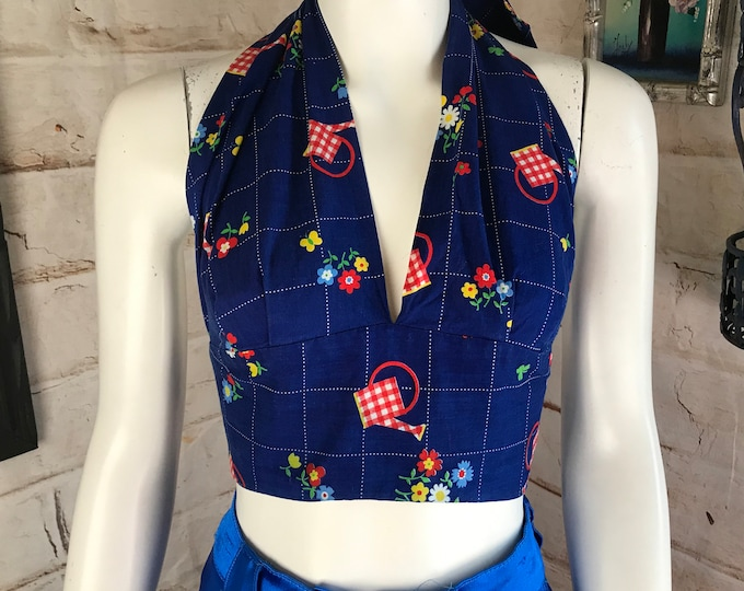 Vintage 70s Blue Floral Novelty Flowers Watering Can Halter Crop Cropped Top 1970s M/L Medium Large cotton festival