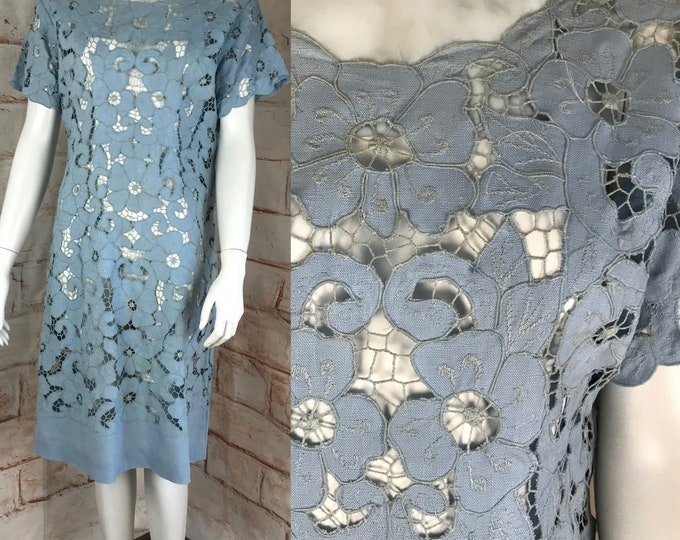 Vintage 60s Embroidered M/L Floral Irish Linen Lace Cutout Sheer Shift Dress vtg 1960s
