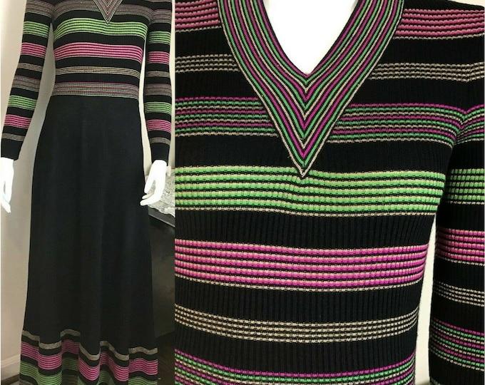 Vintage 70s AristoKat Striped Metallic Lurex Wool Blend Sweater Maxi Dress M vtg