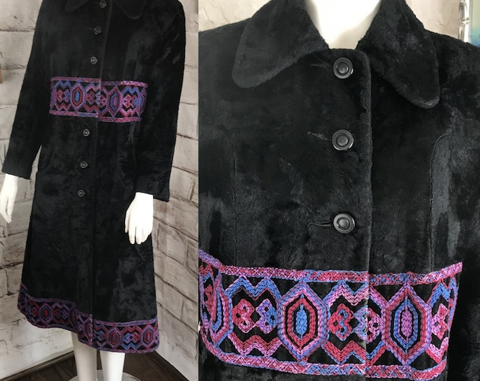 Vintage 60s Womens Mod Geometric Embroidered Black Faux Fur Coat M 1960s 70s Medium