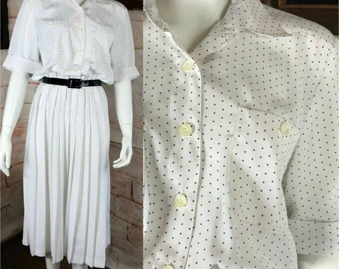 Vintage 80s Leslie Fay Polka Dot White Pleat Midi Secretary Dress Shirtwaist M Medium