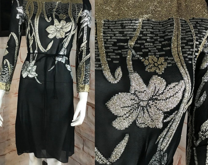 Vintage 80s Metallic Lurex Floral Mini Party Sheer Chiffon Shift Dress XS XSmall 1980s Nancy Bracolini for Shangri La