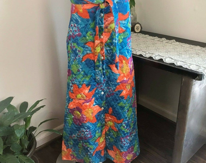Vintage 70s Impressionism Abstract Floral Maxi Quilted Skirt S Small 1970s vtg