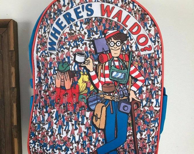 Vintage 90s Wheres Waldo Backpack Book Bag Blue Red Medium 1990s Kids Nylon