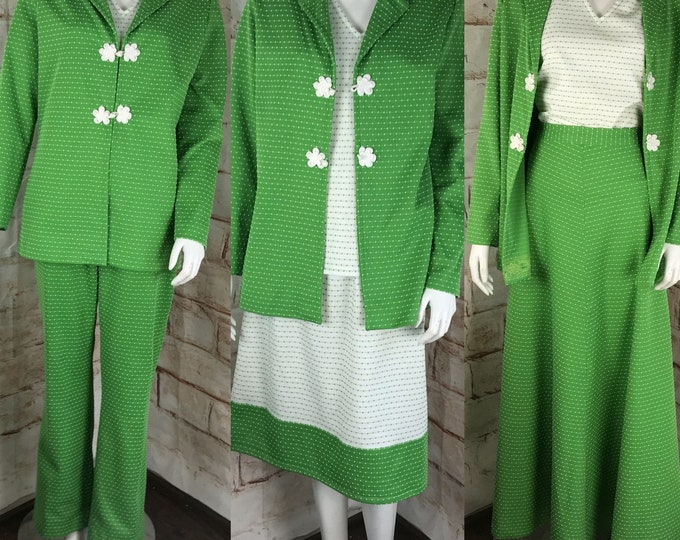 Vintage Womens 70s Mod Green Polyester Suit Lot 5piece Matching Set Skirt L Large Top Jacket Pants 1970s Swiss Dot Striped Textured