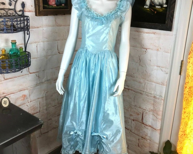 Vintage 80s Night Moves Blue Iridescent Prom Party Southern Belle Dress XS/S 1980s