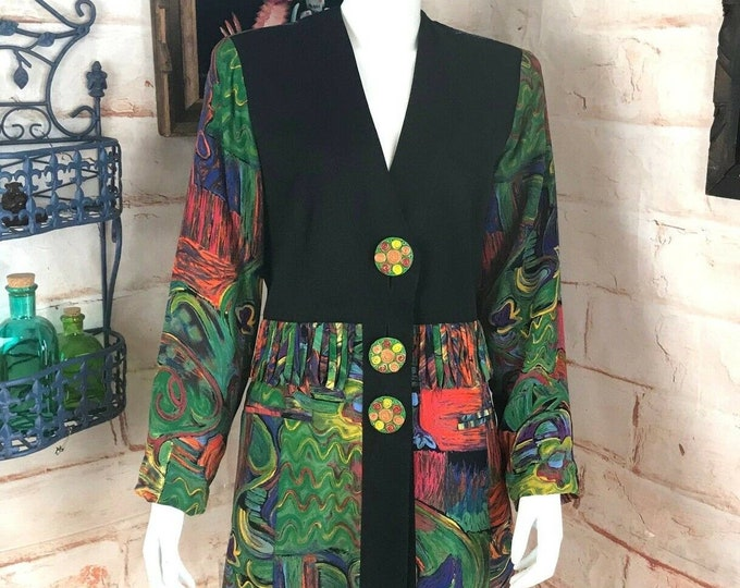 Vintage 80s Dorothy Schoelen Platinum Art Colorful Abstract Blazer Jacket M
