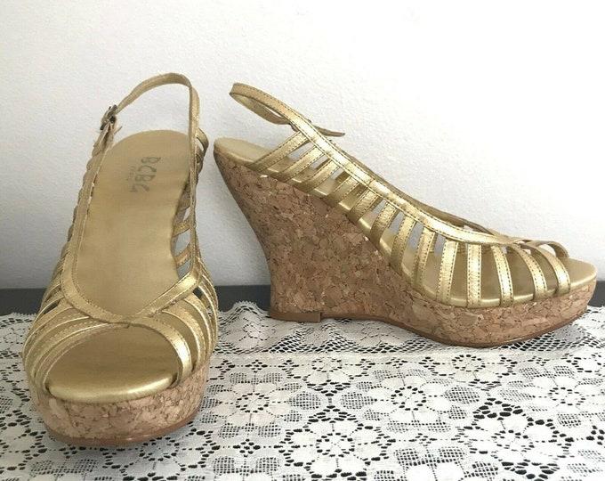 Vintage 90s BCBG Metallic Gold Leather Cage Cork Platform Heels Shoes 7.5/8