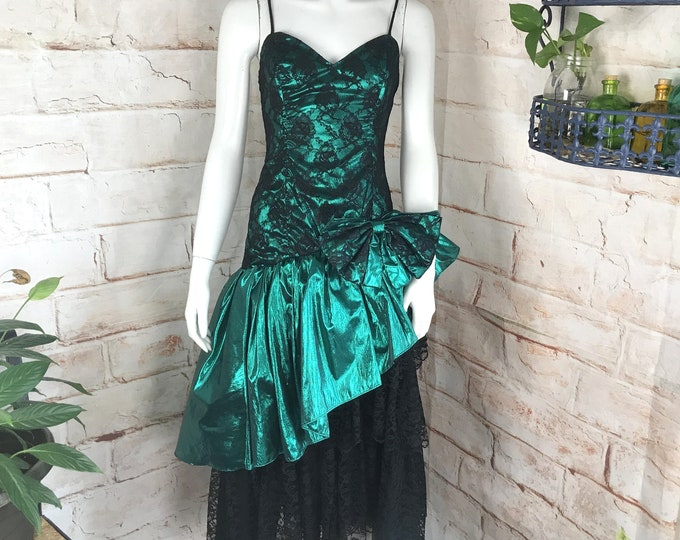 Vintage 80s Loralie Green Metallic Tiered Black Floral Lace S Big Bow Prom Formal Dance Party Dress Lame 1980s Small Princess