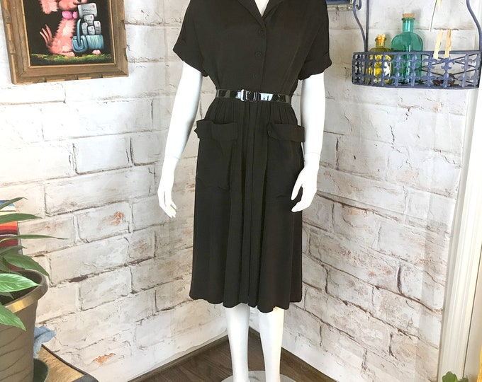 Vintage 50s Black Rayon Day House Draped Midi S Small Dress 1950s 40s Full Skirt Shirt Waist Large Pockets