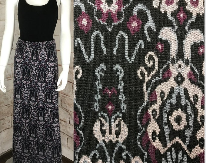 Vintage 70s Damask Filigree Knit Sweater S Acrylic Denmark Robinsons Maxi Skirt 1970s Small A-line