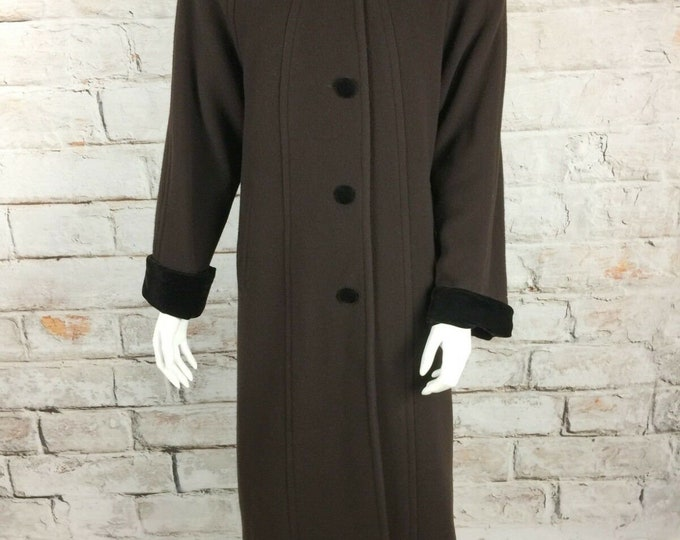 Vintage 90s Halston Brown Wool Hood Full Length Maxi Coat Velvet Trim S/M Trench