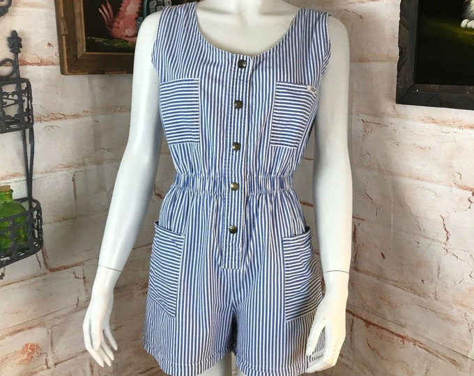 Vintage 80s 90s Ideas Striped Tank Shorts Romper Jumpsuit Playsuit M Medium vtg
