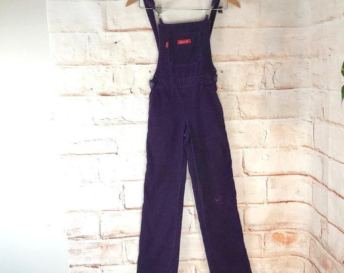 Vintage 70s 80s Girls 8 Chemin De Fer Purple Corduroy Overalls Pants Jumpsuit