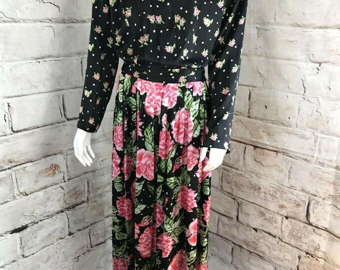 Vintage 80s Miss O Oscar de la Renta Floral Roses L 14 SILK Maxi Skirt Top Blouse suit dress 1980s Large