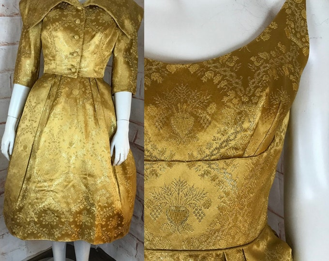 Vintage 50s Edward Abbott Couture S Small Metallic Gold Floral Brocade Dress Jacket Set 1950s Small