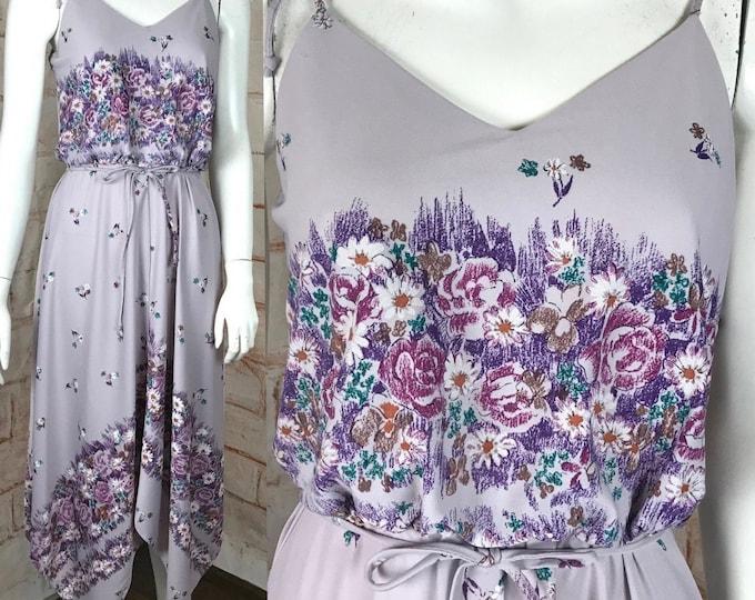Vintage 70s Floral Asymmetrical Handkerchief S Midi Disco Sun Dress Sundress 1970s Small