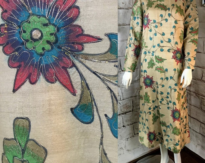 Vintage 60s Handmade Custom Silk Midi S Caftan Floral Batik Dyed Shift Dress Metallic Thread Soutache 1960s Small