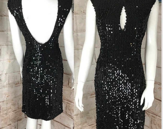 Vintage 80s Climax Black Metallic S/M Sequin Bodycon Backless Cocktail party Wiggle Mini Dress 1980s David Howard Bandage
