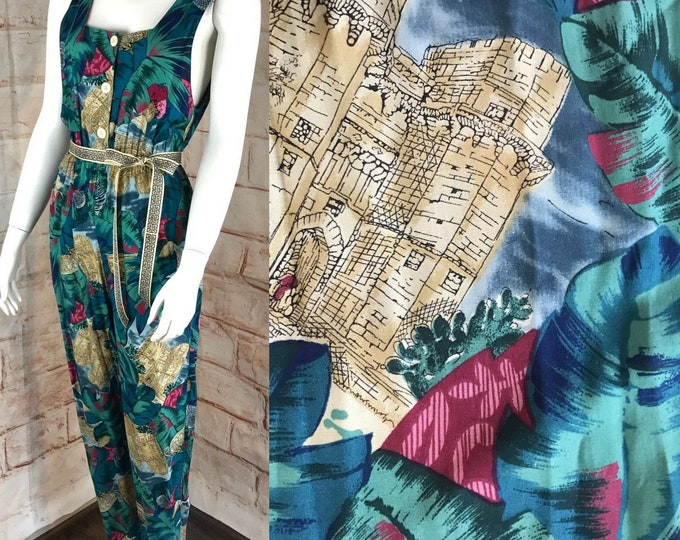Vintage 80s 90s Hawaiian Floral Tropical Novelty Jumpsuit XS/S Jumper Side Boob