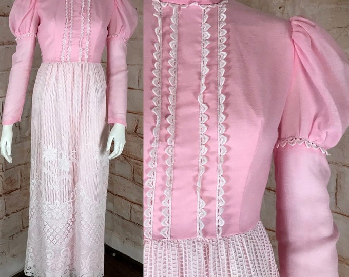Vintage 70s Crochet Lace Pink Maxi XS/S Small Prairie Victorian-Style Dress vtg 1970s XSmall/small puff sleeve