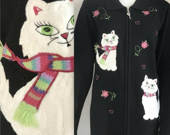Vintage 90s Cat Applique Embroidered Cardigan Sweater Novelty Allison Daley L