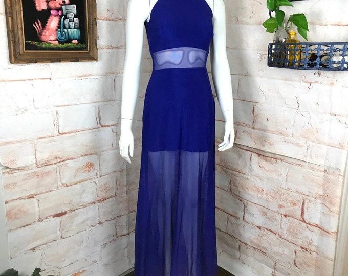Vintage 80s 90s Cache Mesh S Small Net Sheer Purple Maxi Mini BodyCon Dress vtg Cutout